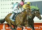 Polish Summer, left, wins the Dubai Sheema Classic at Nad Al Sheba.