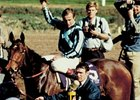 Miesque in the winner's circle after the 1987 Breeders' Cup Mile
