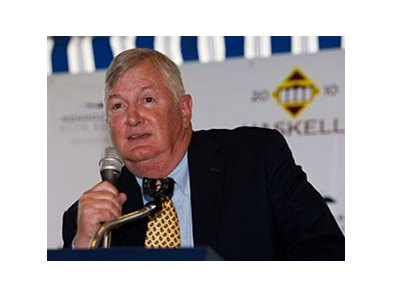 Trainer John Forbes, President of the New Jersey Thoroughbred Horsemens Association, speaks at the Monmouth Park Opening Day Press Conference at