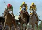 Gary Stevens aboard Silver Charm, center, edges ahead of Captain Bodgit, left and Free House near the finish line to win the 122nd running of the Preakness May 17, 1997 at Pimlico. Stevens will end his nine-month retirement on Wednesday.