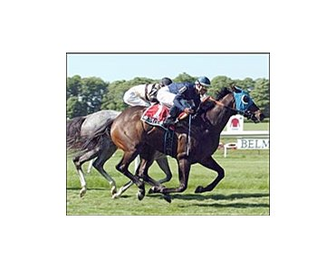 Multiple Choice, right, outruns Dedication to capture the Jaipur Stakes, Sunday at Belmont Park.