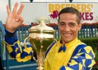 Luis Contreras wins the Breeders' Stakes.