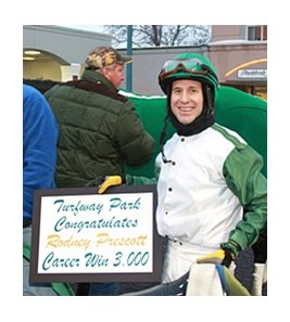 Rodney Prescott wins race 3,000 at Turfway Park.