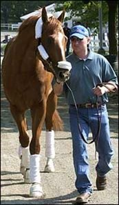 "Belmont morning line favorite Curlin arrives at Belmont.<br><a target=""blank"" href=""http://www.bloodhorse.com/horse-racing/photo-store?ref=http%3A%2F%2Fpictopia.com%2Fperl%2Fgal%3Fprovider_id%3D368%26ptp_photo_id%3D1358911%26ref%3Dstory"">Order This Photo</a>"