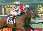 Florida Derby favorite Read the Footnotes, winning the Fountain of Youth.