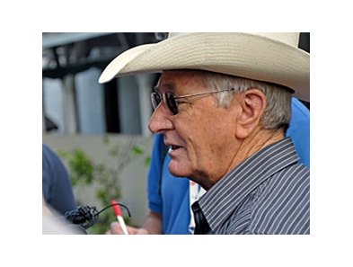 Jinks Fires talks to reporters about his damaged barn at Churchill Downs.
