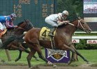 Bwana Charlie crosses the finish line ahead of Pomeroy to win the Amsterdam, Saturday at Saratoga.
