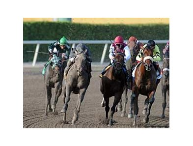 Dunkirk's (second from left) big move in the Florida Derby is one of Haskin's most memorable moments from the Ky. Derby prep season.