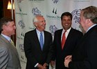 (from left) Breeders' Cup Chairman William S. Farish, Jr., Kentucky Gov. Steve Beshear, Breeders' Cup President and CEO Greg Avioli, and CDI President and CEO Bob Evans chat after announcement that Churchill Downs will host the 2011 Breeeders' Cup.