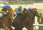Megahertz, left, rallies to win the John C. Mabee Handicap at 8-1 odds.  Golden Apples (partially obscured), Dublino (#2) and Tates Creek, far right, finished in a photo for second.
