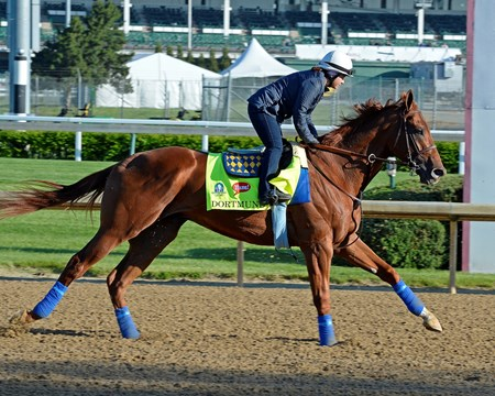 Dortmund on the track at Churchill Downs April 28, 2015, in Louisville, KY.
