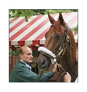 Trainer Barclay Tagg with perennial fan favorite Funny Cide.