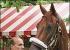 Funny Cide, with trainer Barclay Tagg, at Saratoga.
