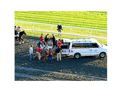 Gabriel Saez is moved into the ambulance on Oct 15 at Keeneland.