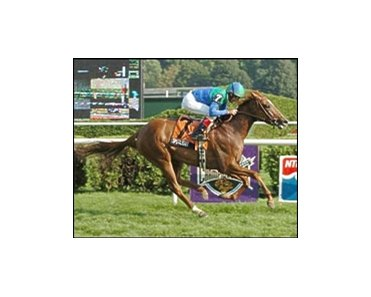 Spotlight, with jockey Jerry Bailey, captures the Lake Placid Stakes.