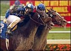 Taste of Paradise, outside, goes stride for stride down the stretch with Watchem Smokey, inside, to win the Underwood.