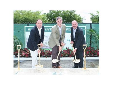 From left to right: Calder Race Course Vice President and General Manager of Racing John Marshall, Churchill Downs Incorporated Chief Operating Officer Bill Carstanjen, and Calder President and General Manager Tom O'Donnell officially break ground of the