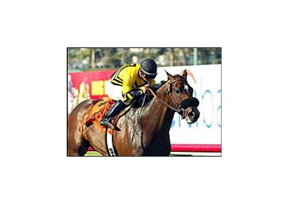 Laura's Lucky Boy gives Jason Orman his first stakes win in the Will Rogers, Saturday at Hollywood Park.