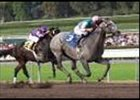 Mizzen Mast leads Giant Gentlemen to the finish line in the Malibu Stakes.