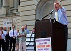 Kentucky Governor Steve Beshear rallies that crowd at the state capitol in Frankfort.