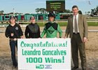 Leandro Goncalves celebrates win number 1,000 at Tampa Bay Downs.