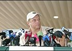 Trainer John Servis, meets the press Wednesday at Philadelphia Park.