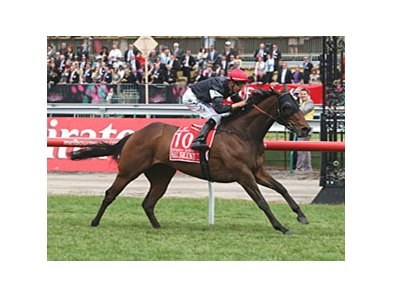 All Silent pulls away in the Emirates Stakes at one mile at Flemington in Australia.
