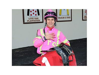 Junior Alvarado celebrates 5 wins at Aqueduct on Feb 10.