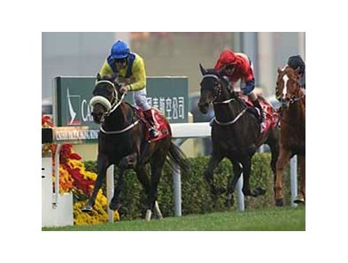 Eagle Mountain, at left, wins Hong Kong's richest race, the HK $20M Hong Kong Cup.