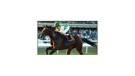 Royal Anthem, winning the 2000 Gulfstream Park Breeders' Cup Handicap.