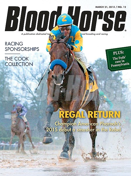 March 21, 2015 Issue 12 cover of the Blood-Horse featuring American Pharoah winning the Rebel Stakes at Oaklawn Park.