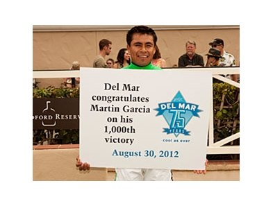 Jockey Martin Garcia celebrates win number 1,000 Aug. 30 at Del Mar.