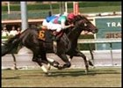 Senure (6) passes White Heart in Sunday's Clement Hirsch Memorial at Santa Anita.