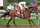 Kona Gold, ridden by Alex Solis, winning the San Carlos Handicap in his 2001 debut.