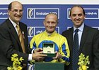 Calvin Borel accepts the Meydan Masters International jockey competition award.