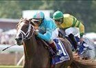 English Channel (left) and John Velazquez win their second consecutive United Nations Stakes.