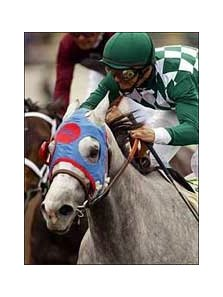 Jockey Mike Smith guides Alphabet Kisses to an upset victory in the La Brea Stakes.