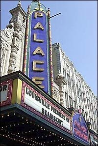 Palace Theater marquee announces Seabiscuit premiere.