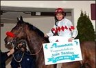 Jose Santos sits aboard Melodeeman after capturing his 4,000th career win, Saturday at Aqueduct.