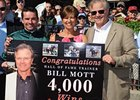 Bill Mott (right) celebrates his 4,000th win with Kent Desormeaux, who rode Mystic to victory.