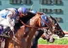 Supah Blitz (black blinkers) wins photo finish in Lone Star Handicap.