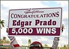 Edgar Prado celebrates his 5,000th career victory after winning the Swale Stakes Saturday at Gulfstream.