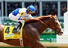 "Jesus Castanon celebrates victory with Shackleford in the Churchill Downs Stakes.<br><a target=""blank"" href=""http://photos.bloodhorse.com/AtTheRaces-1/at-the-races-2012/22274956_jFd5jM#!i=1830203850&k=srsJ5h9"">Order This Photo</a>"