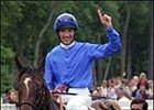 Frankie Dettori smiles after riding Shamardal to the win in Sunday's Prix du Jockey Club.