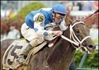 Smarty Jones winning the 2004 Kentucky Derby.