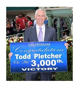 Todd Pletcher celebrates his 3,000th win.