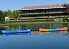 Two canoes patrol the infield pond at Saratoga.