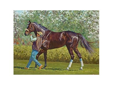 Christine Picavet's painting of Zenyatta has been donated to Southern California Thoroughbred Rescue.