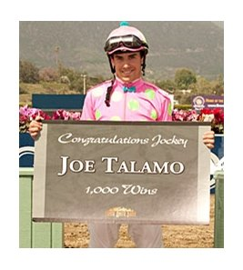 Jockey Joe Talamo celebrates win number 1,000 at Santa Anita.