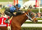 Valentine Dancer cruises to victory in the Sunshine Millions Filly & Mare Turf, Saturday at Santa Anita.